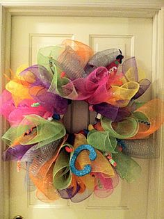 Dragonfly Designs: Birthday Wreath from Deco Mesh
