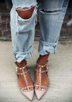 shoes, boyfriend jeans, fashion, valentino, street styles, denim, stud, flats, boyfriends