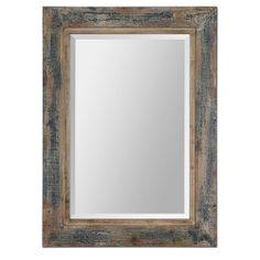 Bozeman Distressed Blue Mirror | Overstock.com