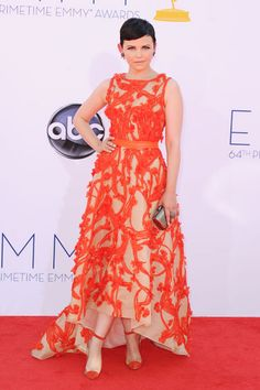 Emmys 2012: The Best of the Red Carpet - Ginnifer Goodwin shows off one of the evening's top color trends so far in a deep orange gown by Monique L'hullier.