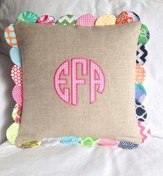 scallop linen, appliqu pillow, linen circl, circl appliqu, applique pillows