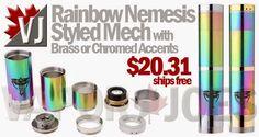 Nemesis Styled Mechanical Mods with Rainbow Finish