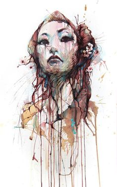Carne Griffiths #art #illustration #portrait #ink #tea #woman