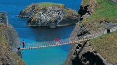 Carrick-a-Rede Rope Bridge, Ireland.  I would not walk across this bridge for a million dollars but it's pretty.