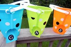 decorated sand buckets party favors, buckets, gift wrapping, canvas art, vinyl, parti favor, sand bucket, canvases, kid