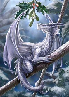 christmas cards, kiss, ann stoke, magic, fantasi, season, dragons, snow, dragon art