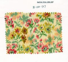 Faux ikat floral print on striped cotton. England. 1896-97.