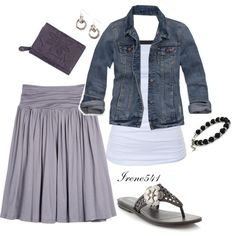 Comfy skirt with a cute jean jacket this outfit is adorable