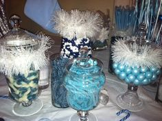Candy jars at a Winter Wonderland Party #winter #candy