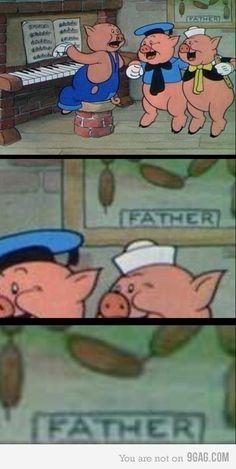 three little pigs, funni, old school, funny cartoons, childhood, fathers, old disney, disney films, disney cartoons