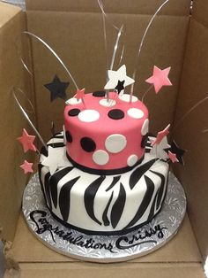Calumet Bakery  Pink, Black, and White Fondant with Bear Grass and Stars