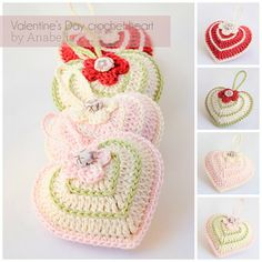 Crochet hearts by Anabelia, with free chart