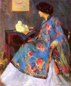 Bernhard Gutmann (German-American artist, 1869-1936) Lady in a Chinese Silk Jacket 1909
