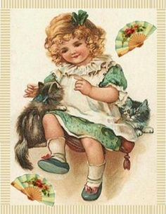 Vintage greeting card of a little girl