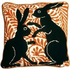 Needlepoint pattern based on William de Morgan arts and crafts era tile.