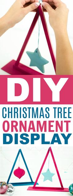 This tutorial for a fun and easy DIY Christmas Tree Ornament  Display is so cute. It's the perfect way to display a special ornament. #christmas #diychristmas #holidays #diyholidayideas  #diychristmasideas #diychristmasdecor #diychristmasgiftideas #christmascrafts  #christmaskidcrafts #diygiftideas #christmasdiy #christmascrafts #diychristmasideas
