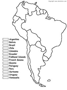 Coloring sheet: Map of South America. Can be used to teach counties of South America.