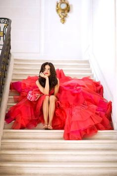 red ruffles - gown