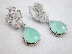 Mint Green Cubic Zirconia Dangle Earrings, Rhodium Silver Earrings, Aqua Mint Green Dangle, Wedding Earring, Bride Earring, Inv131 on Etsy, Sold