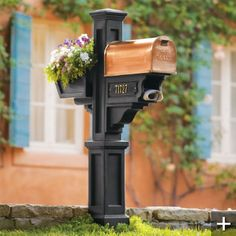 Copper mailbox with flower box