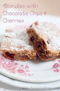 Blondies with Chocolate Chips and Cherries