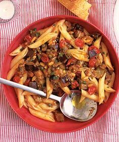 Eggplant Pasta Salad from realsimple.com #myplate #protein #vegetables