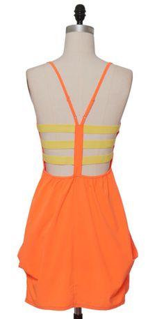 Orange Highlighter Dress back view