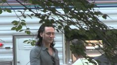 Tom Hiddleston on the set of The Avengers