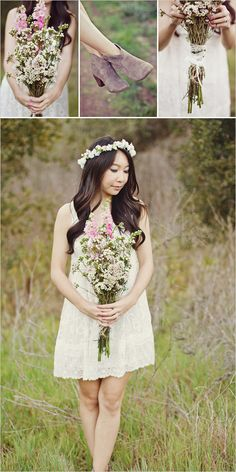 wild flower wedding bouquet & crown