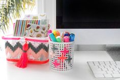 Upgrade your office supplies with colorful yarn.