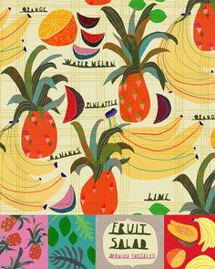 tropical fruit art by MONIKA FORSBERG