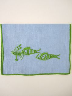"""""""They drink like fish"""" Cocktail Napkins- Blue & Green by Julia B.  from Julia B. Custom Linens. [hostess gift]"""