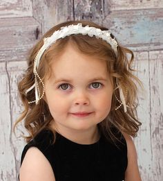 Headband of ivory silk flowers for #flower girl ... Wedding ideas for brides, grooms, parents & planners ... https://itunes.apple.com/us/app/the-gold-wedding-planner/id498112599?ls=1=8 … plus how to organise an entire wedding, without overspending ♥ The Gold Wedding Planner iPhone App ♥