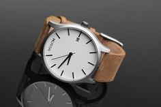 White Stainless Steel Watch with Tan Leather Band - I want this!