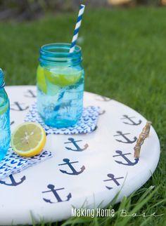 DIY Nautical Beverage Tray on { lilluna.com }