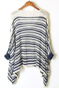Blue White Striped Batwing Sleeve Loose Sweater