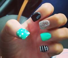 Turquoise, Black, White, and Sliver Glitter with Polkadots and Strips Nail Art Design