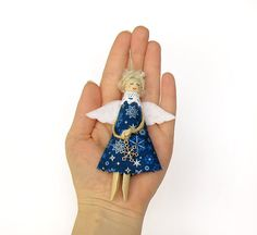 Christmas Angels Christmas Ornaments Blue Tree by VasilinkaStore