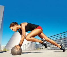 24-Minute At-Home Boot Camp! 4th Station, 2nd Move: Next, do Hands-on Climber. Hold a plank with hands on ball. Bring left knee to left elbow (as shown); quickly switch legs for 1 rep. Continue for 45 seconds. Rest 15 seconds. Then do Wall Ball again for 45 seconds, and rest for 15. (For round two, switch order to begin and end with Hands-on Climber.) Works shoulders, back, arms, abs, butt, thighs #SELFmagazine