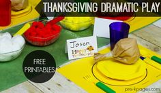 FREE Dramatic Play Thanksgiving Feast Printable Mini Kit for Preschool and Kindergarten. Make learning fun with these hands-on ideas and play activities that will help develop oral language and vocabulary skills!