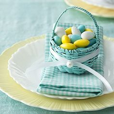 Give a mini basket   Young and old alike are bound to be delighted when they see what the Easter Bunny left them. Wrap a thin ribbon around a basket                                            and use a dab of hot glue to secure, then glue on a pearl bead.