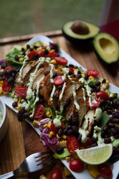 Southwestern grilled chicken salad with creamy buttermilk avocado ranch dressing by @sthrnfairytale | #avocado #salad #southern #dinner #lunch