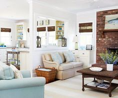 coastal living room with texture enhancing details