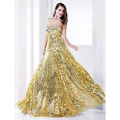 Sheath/Column  Strapless Floor-length Sequined Evening Dress  – USD $ 148.49