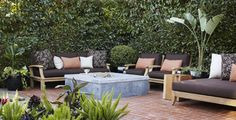 dark cushions on outdoor furniture