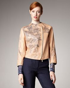 Jean Paul Gaultier Tattoo-Print Leather Jacket, Blouse & Rolled-Cuff Pinstripe Pants - Neiman Marcus