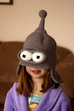 geek, futurama, stuff, metals, crochet hats, crocheted hats, knit, bender hat, kid