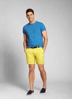 Yellow Seven-Inch Washed Chino Shorts for Men | Bonobos