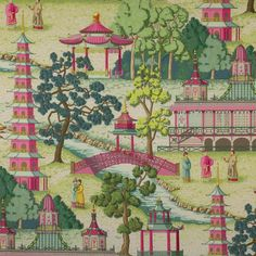 MANUEL CANOVAS Asian CHINOISERIE Toile Fabric 3 yards Rose Multi via Etsy.