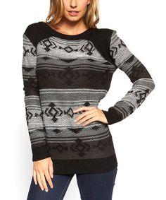 Charcoal & Black Geo Sweater - Women #zulily #zulilyfinds